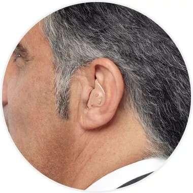 Man wearing full-shell hearing aid