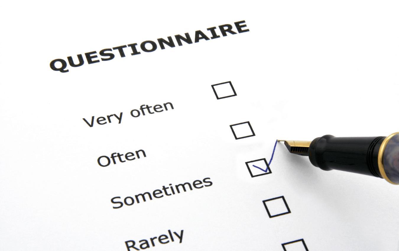 Questionnaire with a pen